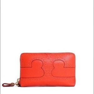 Tory Burch Fire Orange IPhone Wallet Wristlet NWOT